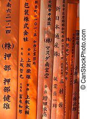 religious japanese writing - fushimi Inari shrine torii...