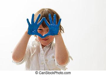 verf, kind, vinger, spelend