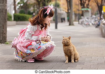 lolita cosplay and cat - japanese lolita cosplay and cat in...