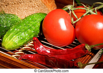 Rural lunch - Three tomatoes, two cucmber and peppers with...