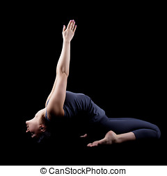 Beautiful woman sit in yoga asana isolated - Beautiful woman...