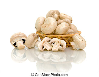 mushrooms Agaricus in basket on white background with a...
