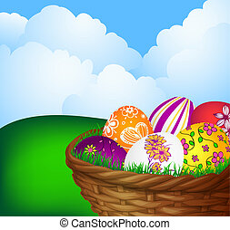 basket with Easter eggs - Spring background with basket with...