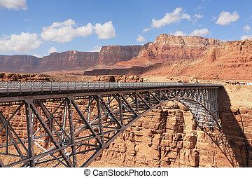 The metal bridge in abrupt coast of desert - The easy metal...