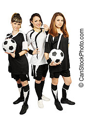 Three girls with balls - Three young girl in the football...