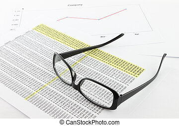 Eye glasses expanded on business information.