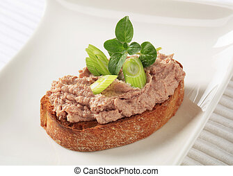Toasted bread and pate - Slice of toasted bread and liver...