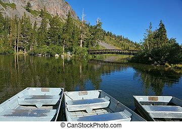 On a quiet mountain lake