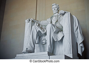 Lincoln Memorial, Washington DC - Front view of Lincoln...