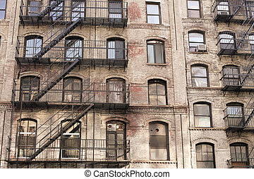 Building with stairs in New York City, USA