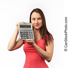 Young woman holding a calculator