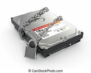 Protected hdd Chain and lock on hard disk drive 3d