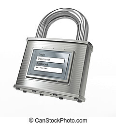 Padlock with login and password 3d - Padlock with login and...