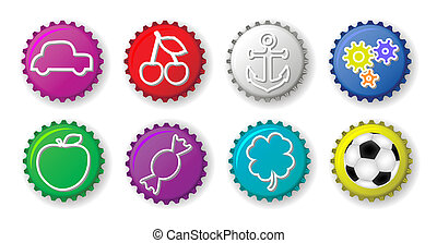 Color bottle caps with figures