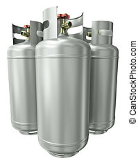 Three gas containers   - Three gas containers. 3D render