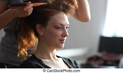 Hairstyle. - Model visage hairstyle for photography in...