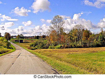 Curving Country Road in Autumn