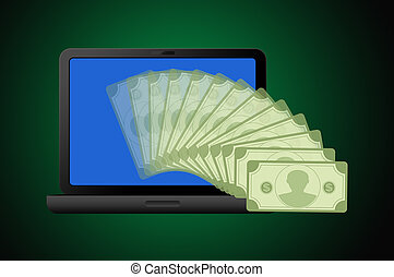 Laptop computer with money