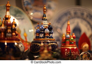 souvenir shop - Showcase of with bright trinkets in the...