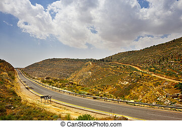 Meandering Road in Sand Hills of Samaria, Israel