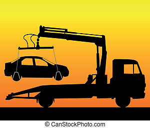 black silhouette of a tow truck on a orange background