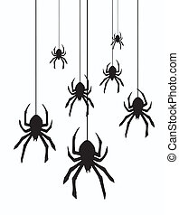 vector hanging spiders - vector illustration of hanging...