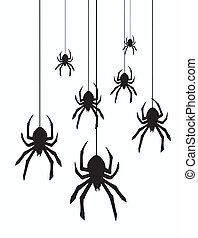 vetorial, aranhas, penduradas
