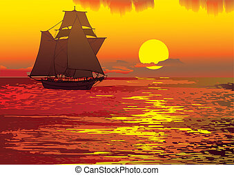 Seascape. - Sailboat in the sea. Vector art-illustration.