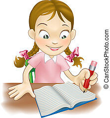 Young girl writing in a book - Illustration of a young girl...