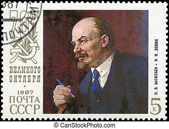 USSR - CIRCA 1987 Lenin