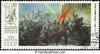 USSR - CIRCA 1987 Assault - USSR - CIRCA 1987: A Stamp...