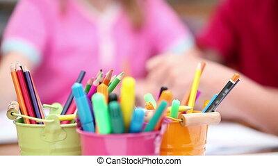 Smiling pupils drawing
