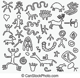 vector ancient petroglyphs