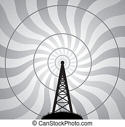 vector radio tower and air waves - vector illustration of...