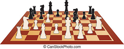 vector chess game - vector illustration of chess game