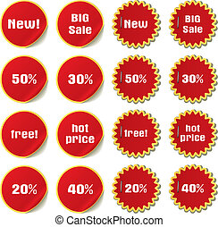 vector set of stickers and labels