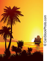 Sunrise - Silhouette of the jungle on the ocean background...