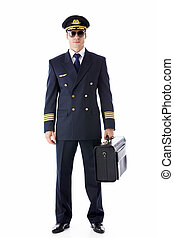 Flyer - A pilot in uniform on a white background