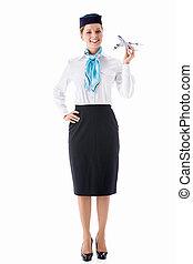 Flight attendant - Stewardess in uniform on a white...
