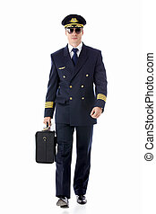 Airman - The pilot of a suitcase on a white background