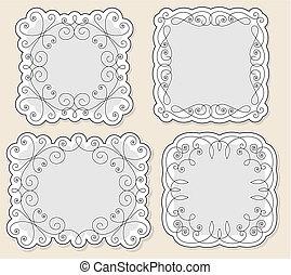 set vector vintage frames