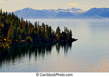 Lake Tahoe in Winter before sunset