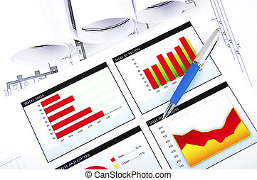 business stilllife - Drawings and charts of successful...