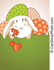 Easter Bunny with tulips postcard