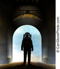 Astronaut Enter Arch - Silhouette of a astronaut dressed in...