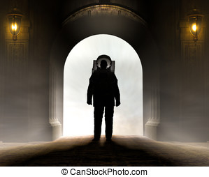 Astronaut Enting Archway - Silhouette of a astronaut dressed...