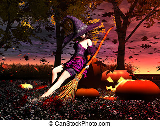 Sexy Witch in Pumpkin Patch - Sexy young female witch with...