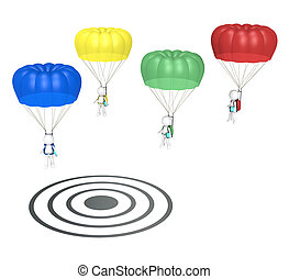 SEO - 3D little human characters X 4 with Parachutes and...