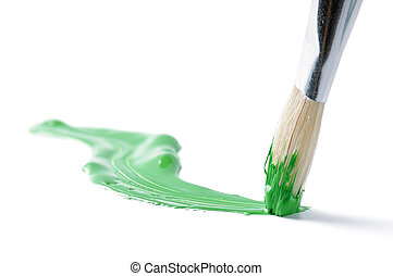 Artist brush and hand drawn green line over white