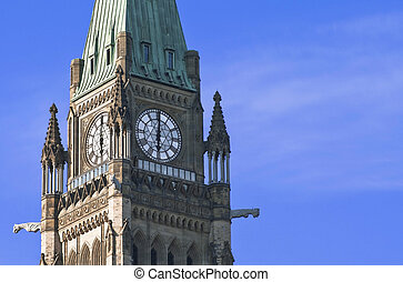 6 O'Clock Politics - The Canadian Parliament Peace Tower at...